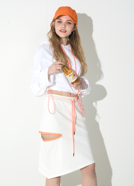 [ATICLE/18SS 신상 5%+5%쿠폰] 18SS Weldingcut unbalance skirt - IVORY