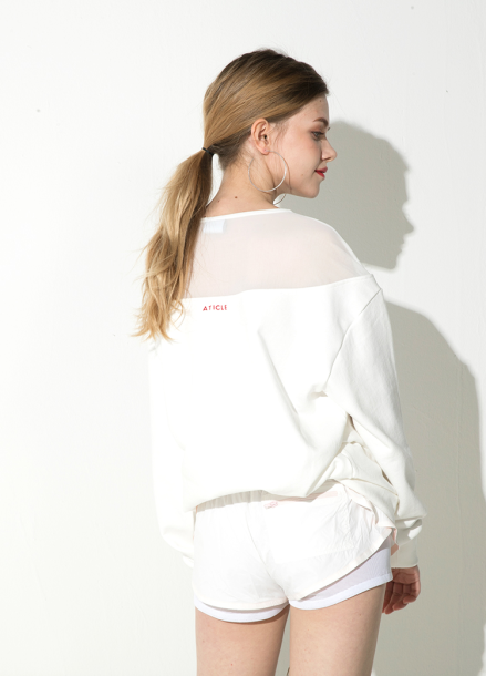 [ATICLE/18SS 신상 5%+5%쿠폰] 18SS Mesh lace sweatshirt - IVORY