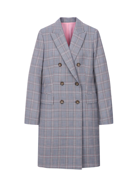 Check Patterned Long Jacket