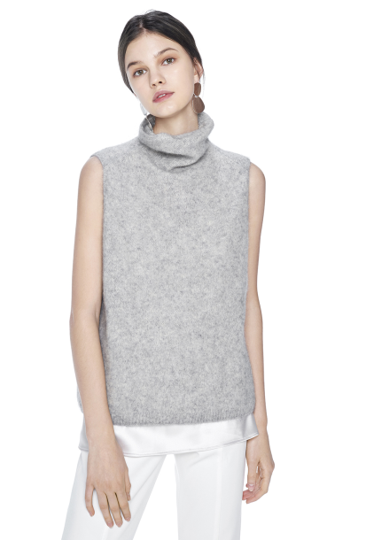[THE SUIN/18SS 20%+5% 쿠폰] RACOON HIGH NECK SLEEVELESS KNIT. LIGHT GREY