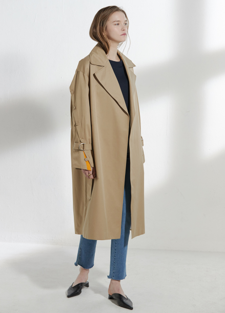 [CLUE DE CLARE/18SS 5%+5% 쿠폰] placket sleeve trench coat Beige