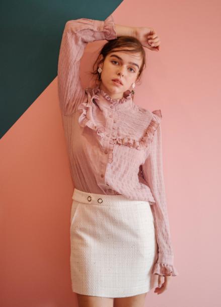[SALON DE YOHN] Shirring Ruffle Blouse_Pink