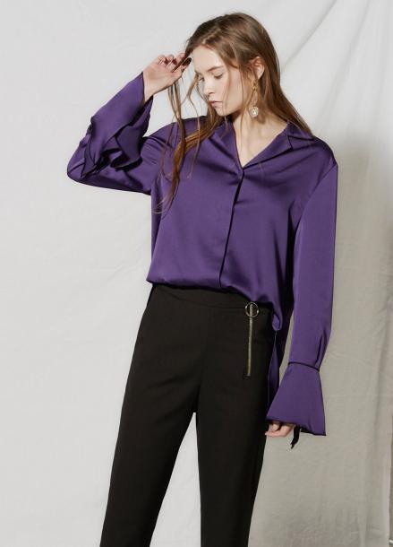 [CLUE DE CLARE/18SS 5%+5% 쿠폰] flare cuffs blouse Purple