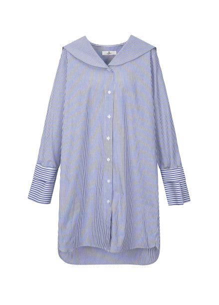 Stripe Sailor Collar Long Blouse<br>[주문폭주/2차 리오더]