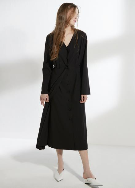 [CLUE DE CLARE/18SS 5%+5% 쿠폰] minimal long dress Black