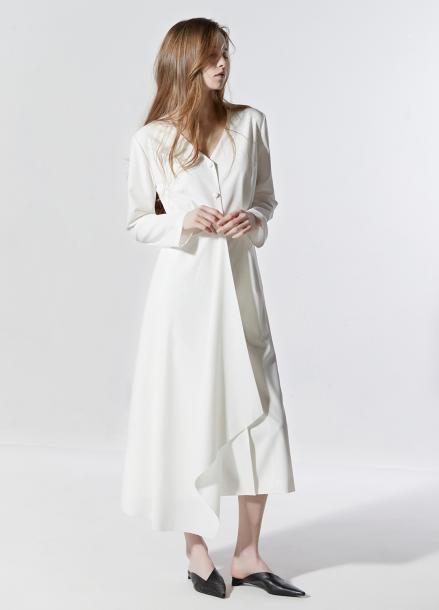 [CLUE DE CLARE/18SS 5%+5% 쿠폰] minimal long dress White