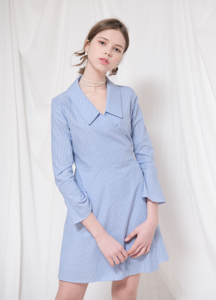 [18SS 20%+5%쿠폰/VEMVER]  COLLAR POINT SHIRTS WRAP ONEPIECE