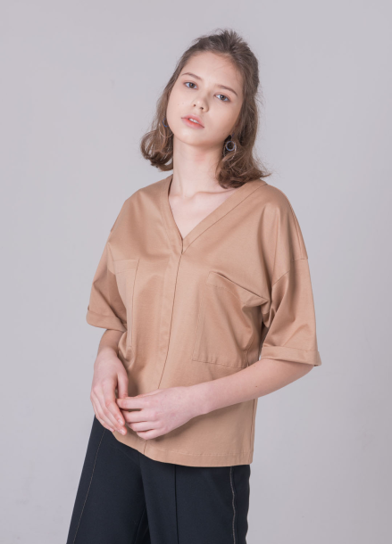 [NOCOCHIC/18SS 5%+5%쿠폰] BIG POCKET V_NECK SHIRT[DBE]