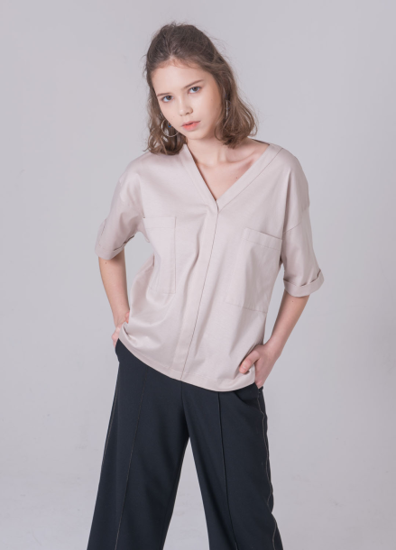 [NOCOCHIC/18SS 5%+5%쿠폰] BIG POCKET V_NECK SHIRT [BE]