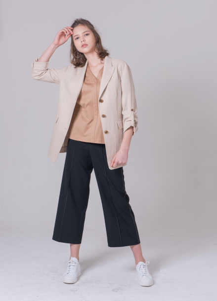 [NOCOCHIC/18SS 5%+5%쿠폰] BACK SLIT LINEN JACKET[BE]