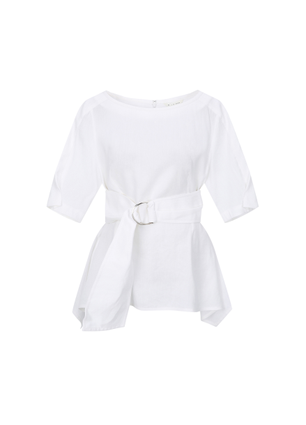 D Ring Flare Short Sleeve Blouse