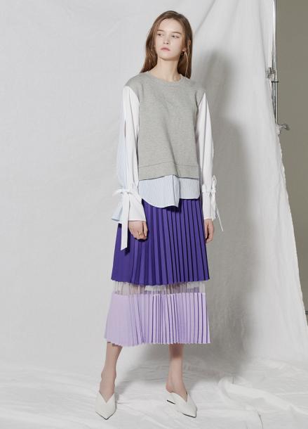 [CLUE DE CLARE/18SS 5%+5% 쿠폰] tone on tone pleats skirt Purple