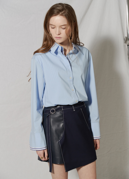[CLUE DE CLARE/18SS 5%+5% 쿠폰] Pants detail skirt Navy
