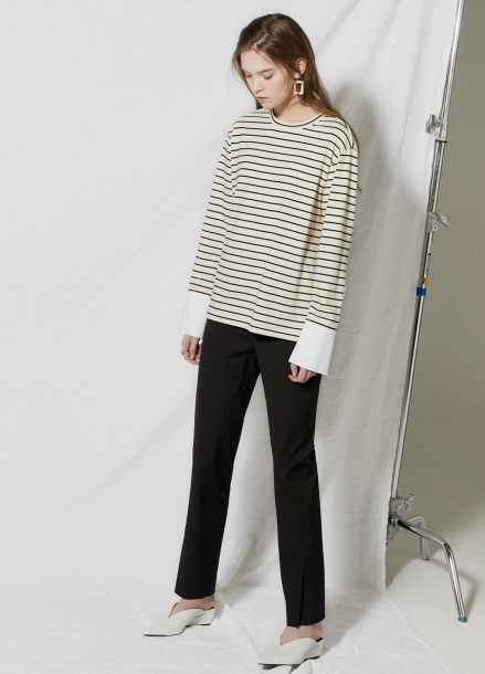 [CLUE DE CLARE/18SS 5%+5% 쿠폰] Cuffs stripe T-shirt Ivory