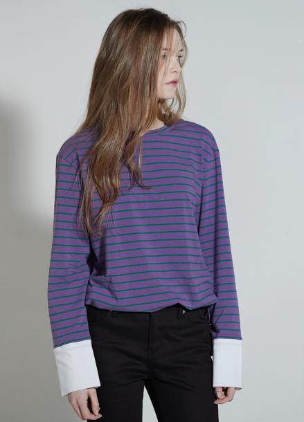 [CLUE DE CLARE/18SS 5%+5% 쿠폰] Cuffs stripe T-shirt Purple
