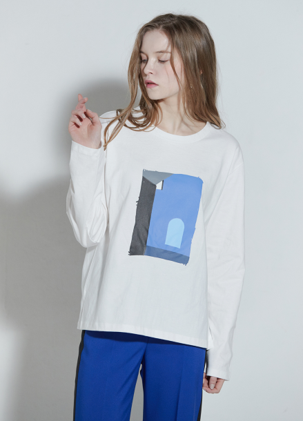 [CLUE DE CLARE/18SS 5%+5% 쿠폰] Round neck graphic T-shirt White