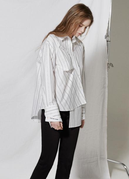 [엄현경 착용★/CLUE DE CLARE/18SS 5%+5% 쿠폰] unbalance placket shirt White