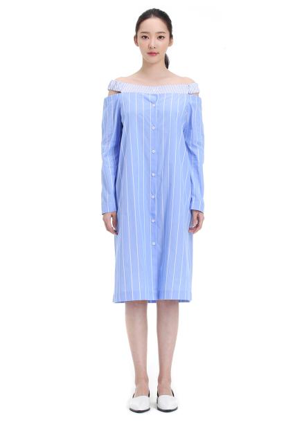 [30%할인+10%쿠폰] Stripe Off-Shoulder Dress