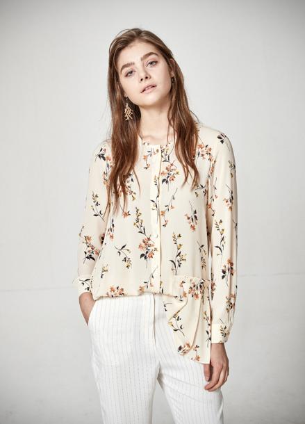 [The Kstory] Flower Pattern Blouse_ Cream