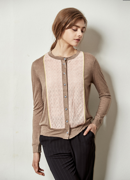 [The Kstory] Embroidery Color effects Cardigan_ Beige