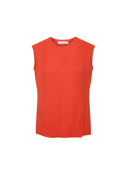 Sleeveless Patterned Point Pullover
