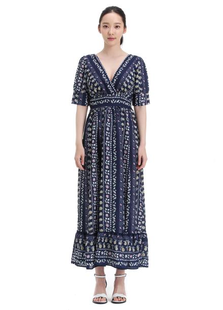V-neck Ethnic Long Dress