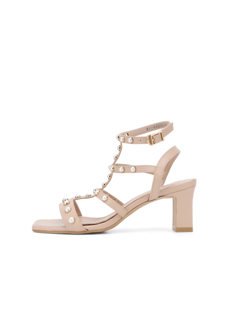 Pearl Strap Sandal Heel