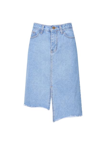 Unbalance Cutting Denim Skirt