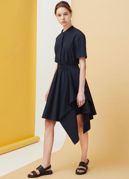 [★시즌오프40%할인/Millogrem]Draped Shirts Dress - Navy