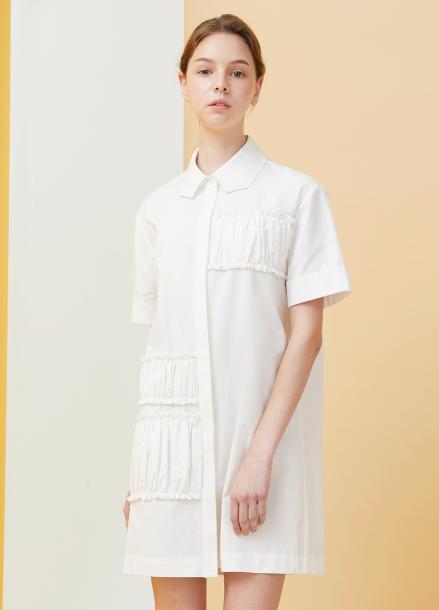 [★시즌오프40%할인/Millogrem]Polygon Collar Shirring Dress - white