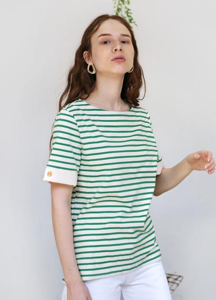 [5%할인+5%쿠폰/SALON DE YOHN]Short Sleeve Stripe T_Green