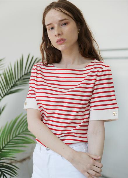 [5%할인+5%쿠폰/SALON DE YOHN]Short Sleeve Stripe T_Red