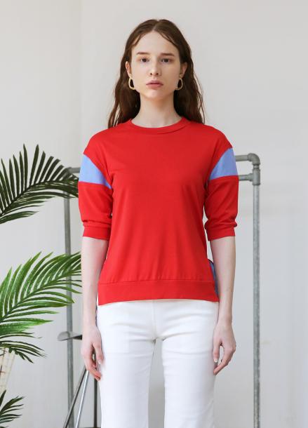 [5%할인+5%쿠폰/SALON DE YOHN]Color Block T_Red