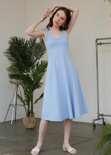 [5%할인+5%쿠폰/SALON DE YOHN]Jersey Flare Dress_Blue