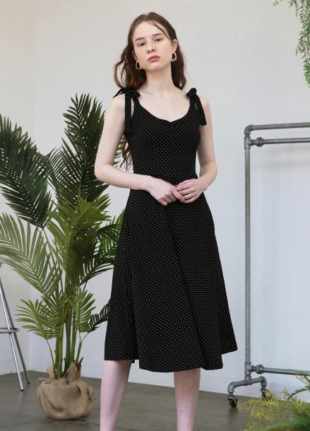 [5%할인+5%쿠폰/SALON DE YOHN]Jersey Flare Dress_Dot Black