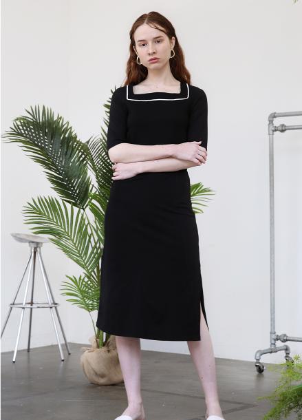 [5%할인+5%쿠폰/SALON DE YOHN]Square Neck Jersey Dress