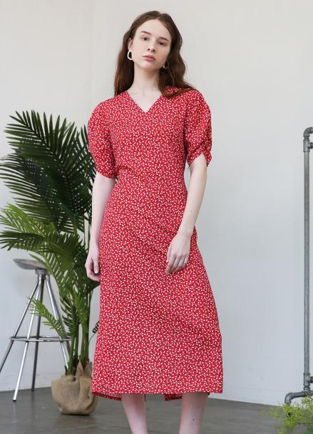 [★인터뷰단독디자인x살롱드욘★/10%할인+5%쿠폰] Puff Shoulder Long Dress_Red