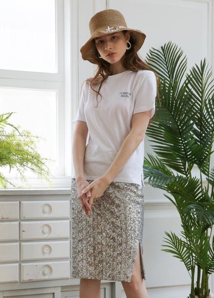 [5%할인+5%쿠폰/SALON DE YOHN]Midi Spangle Skirt