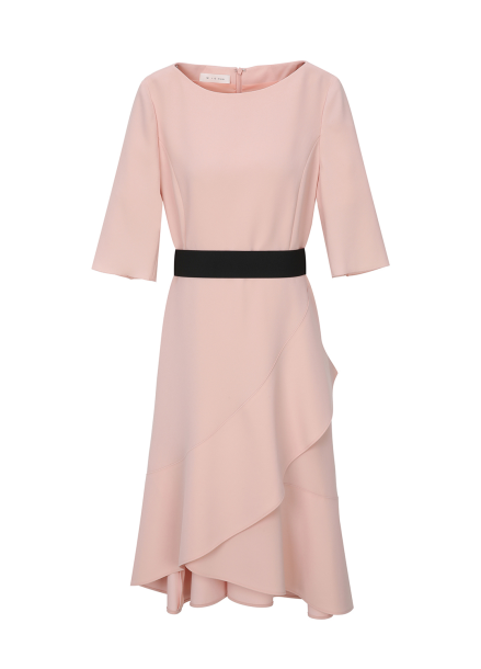 Flare Belt Point Light Pink Dress