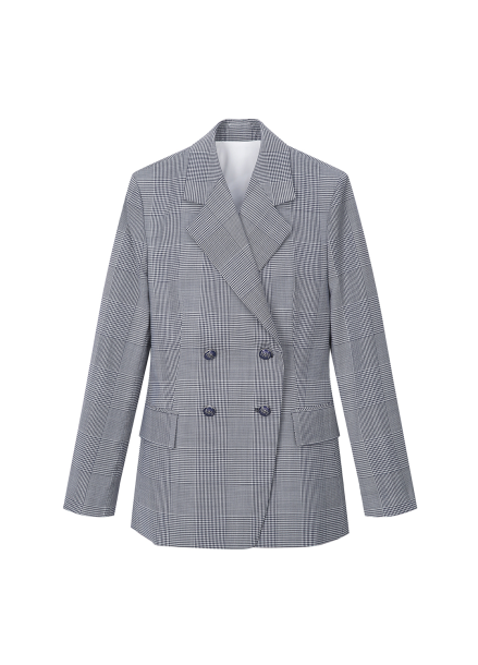 Check Patterned Double Button Jacket
