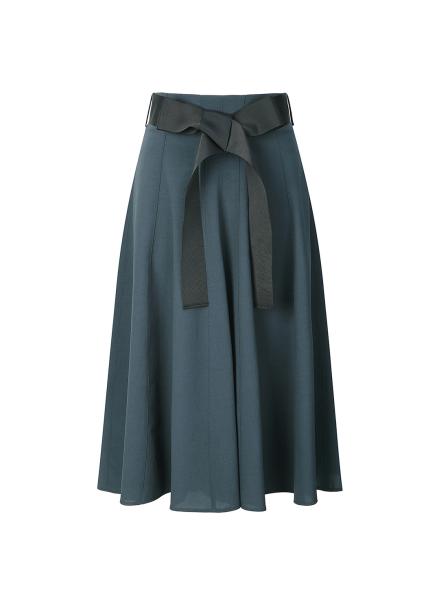 Belt Design Flare Midi Skirt
