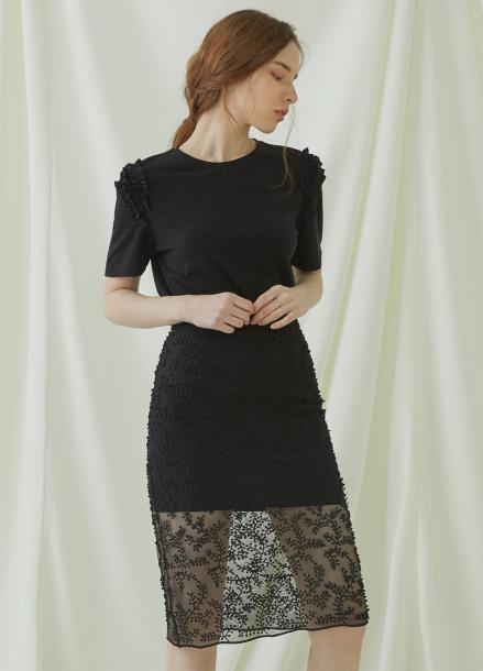 [★시즌오프40%할인/Millogrem] Bell Laced Long Skirt - black
