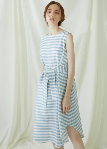[★시즌오프40%할인/Millogrem] Striped Draped Dress - blue
