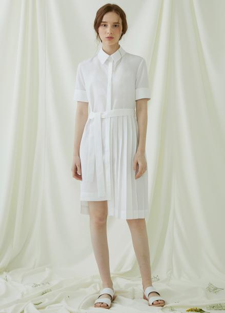 [★시즌오프40%할인/Millogrem] Partial Pleats Dress - ivory