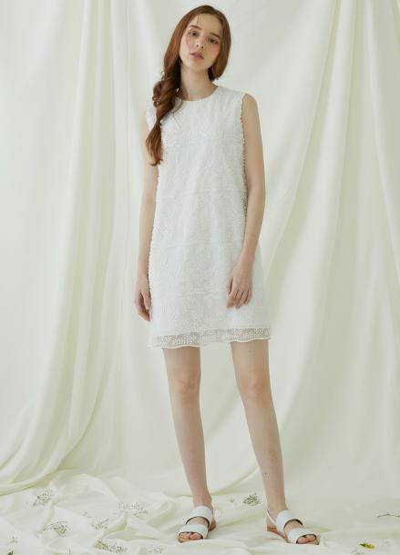 [★시즌오프40%할인/Millogrem] Bell Laced Sleeveless Dress - ivory