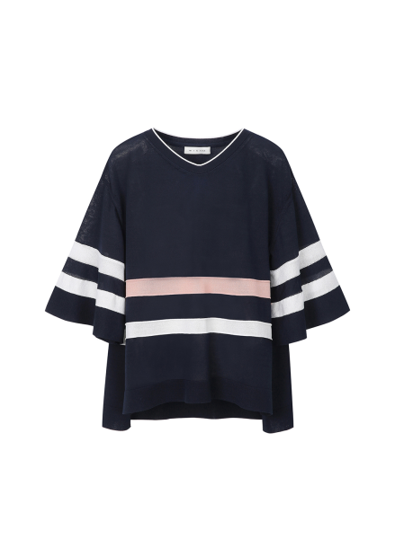 Stripe Point V Neck Pullover