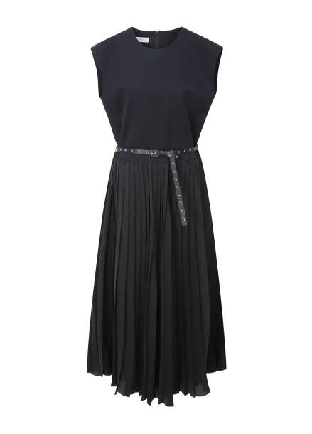 Sleeveless Pleats Belt Dress