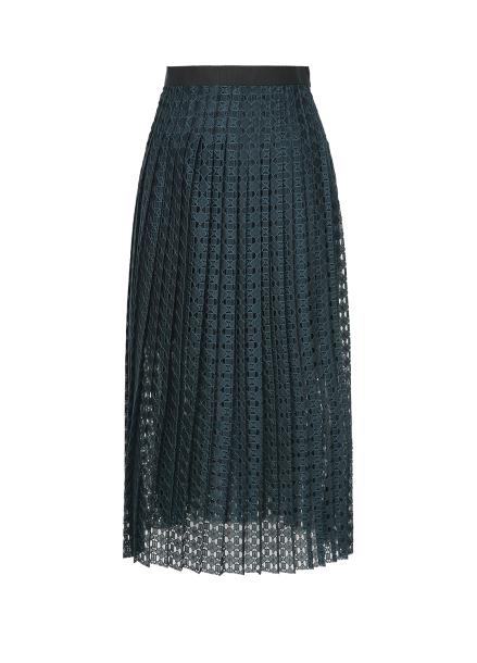 Lace Pleats Black Band Skirt