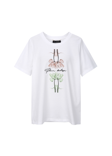 Cotton Flower Printing T-shirts