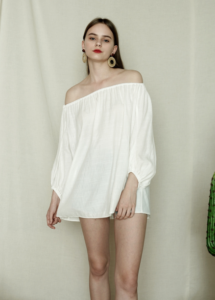 [아이린착용★PINBLACK] OFFSHOULDER TWO-WAY BLOUSE_WH